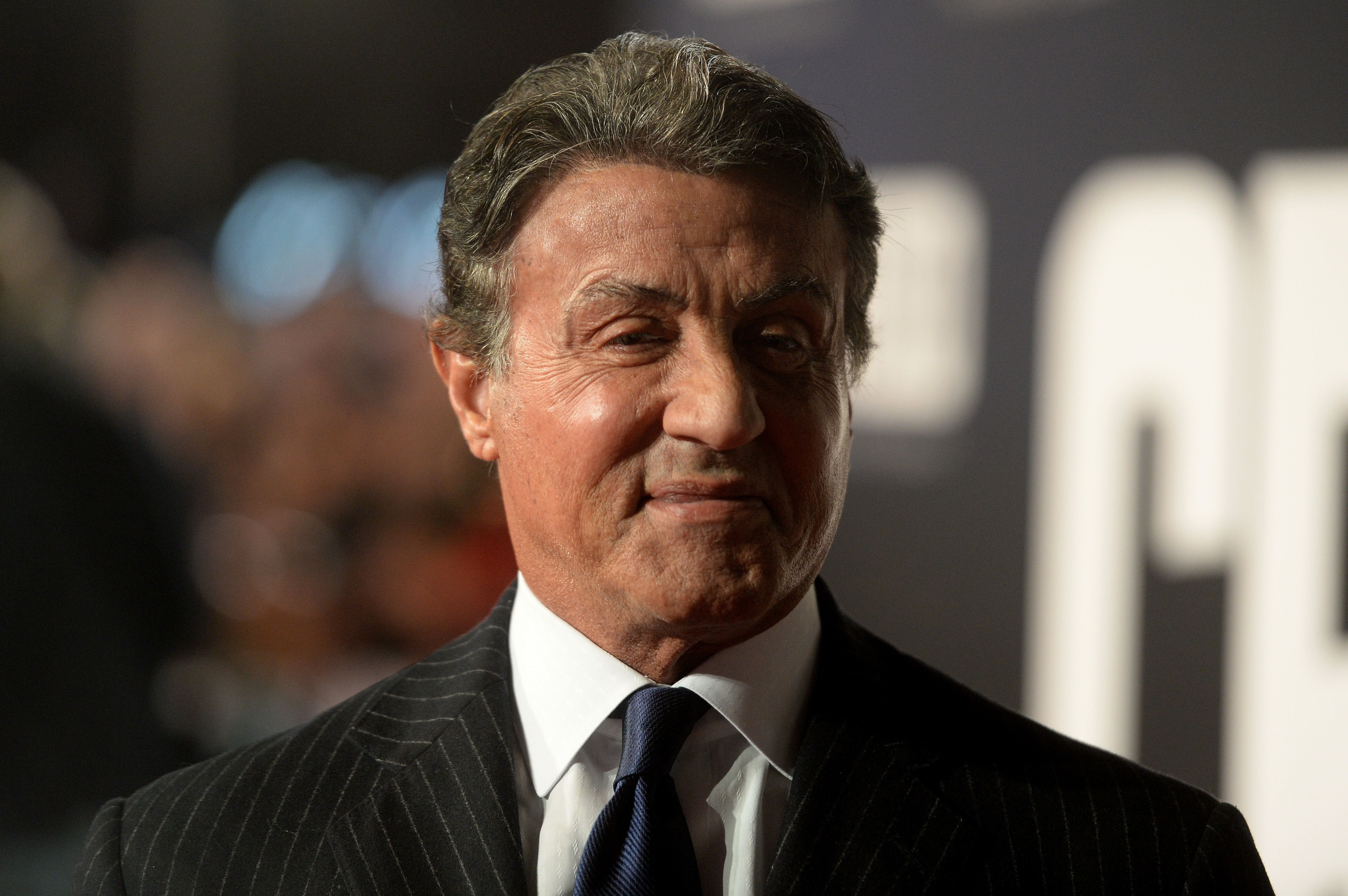 """Sylvester Stallone attends the European Premiere of """"Creed"""" at Empire Leicester Square on January 12, 2016 in London, England. 