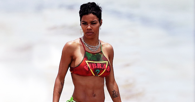 Teyana Taylor Rocks Colorful Two-Piece Swimsuit for 4th of July Miami Beach Celebration