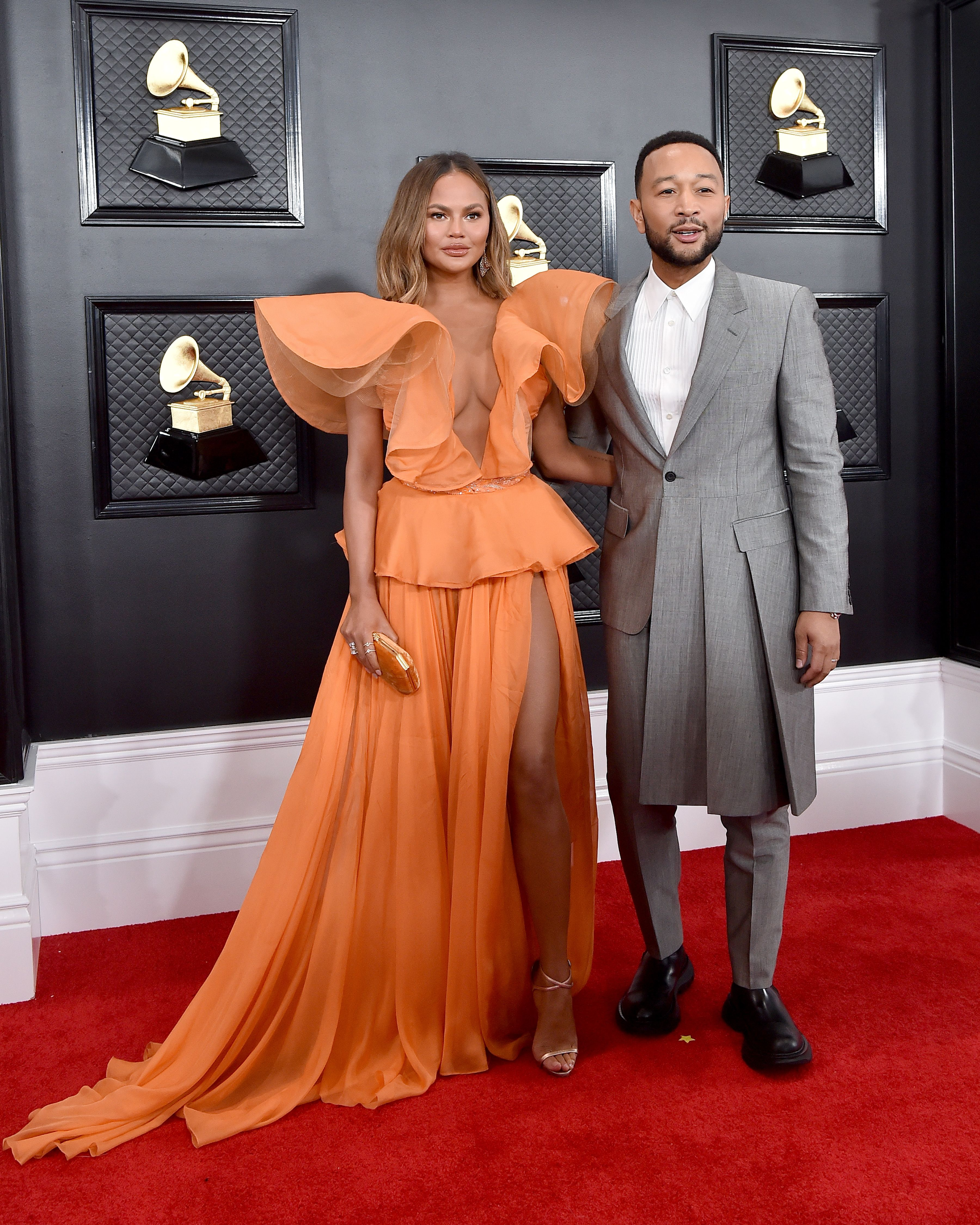 Chrissy Teigen and John Legend walk the red carpet during the 62nd Annual Grammy Awards at Staples Center on January 26, 2020 in Los Angeles, California. | Source: Getty Images