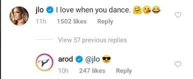 A screenshot J Lo's comment on A Rod's Instagram page. | Photo: https://www.instagram.com/arod/