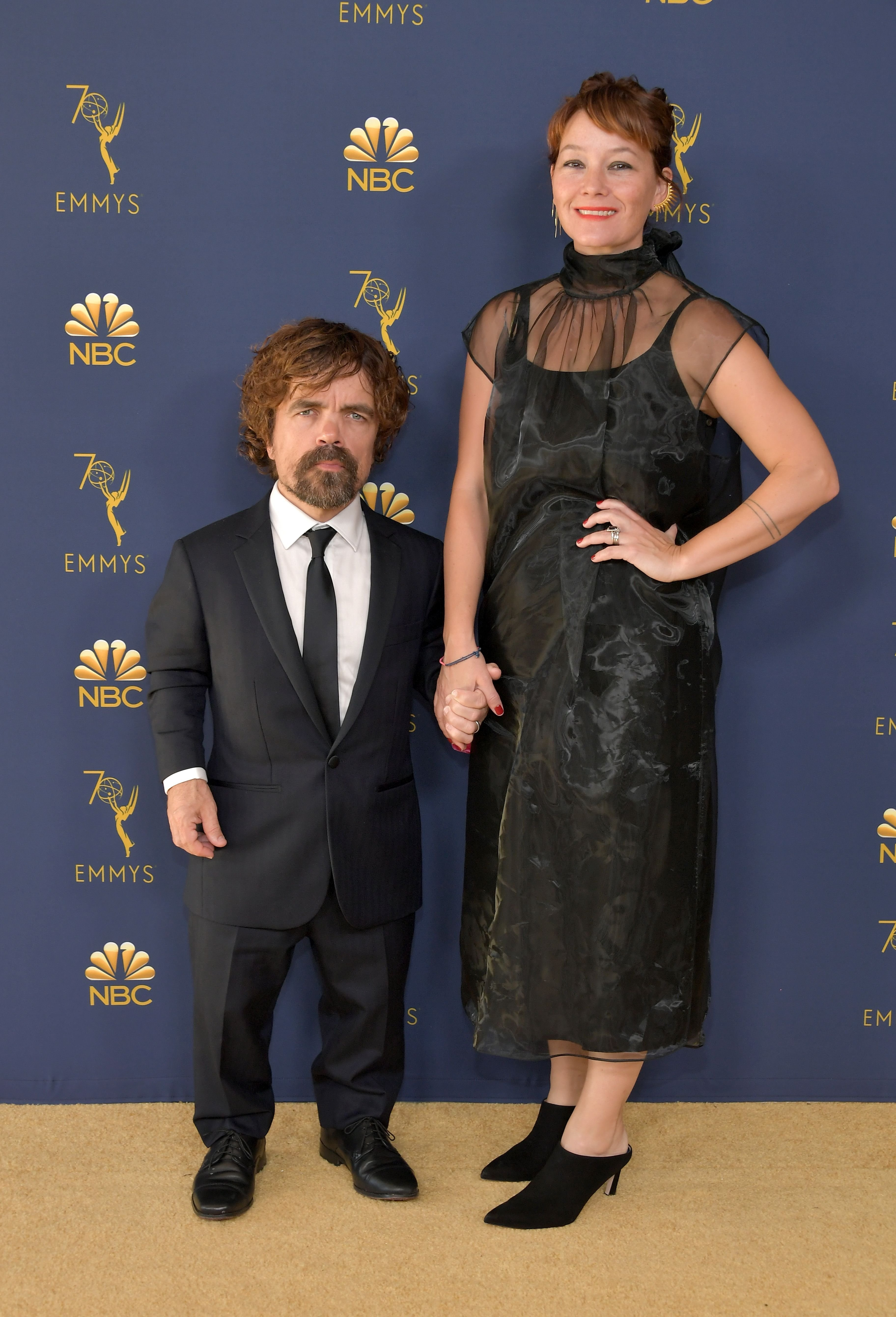 Peter Dinklage and Erica Schmidt at the 70th Emmy Awards in 2018 in Los Angeles, California   Source: Getty Images