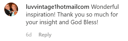 A fan comment on Marie's post | Instagram: @marieosmond