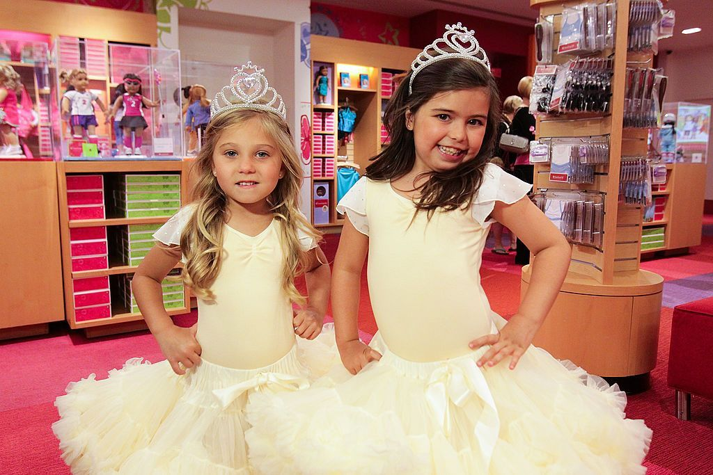 """Sophia Grace Brownlee and Rosie McClelland visit """"Extra"""" at The Grove on May 11, 2012 in Los Angeles, California. 