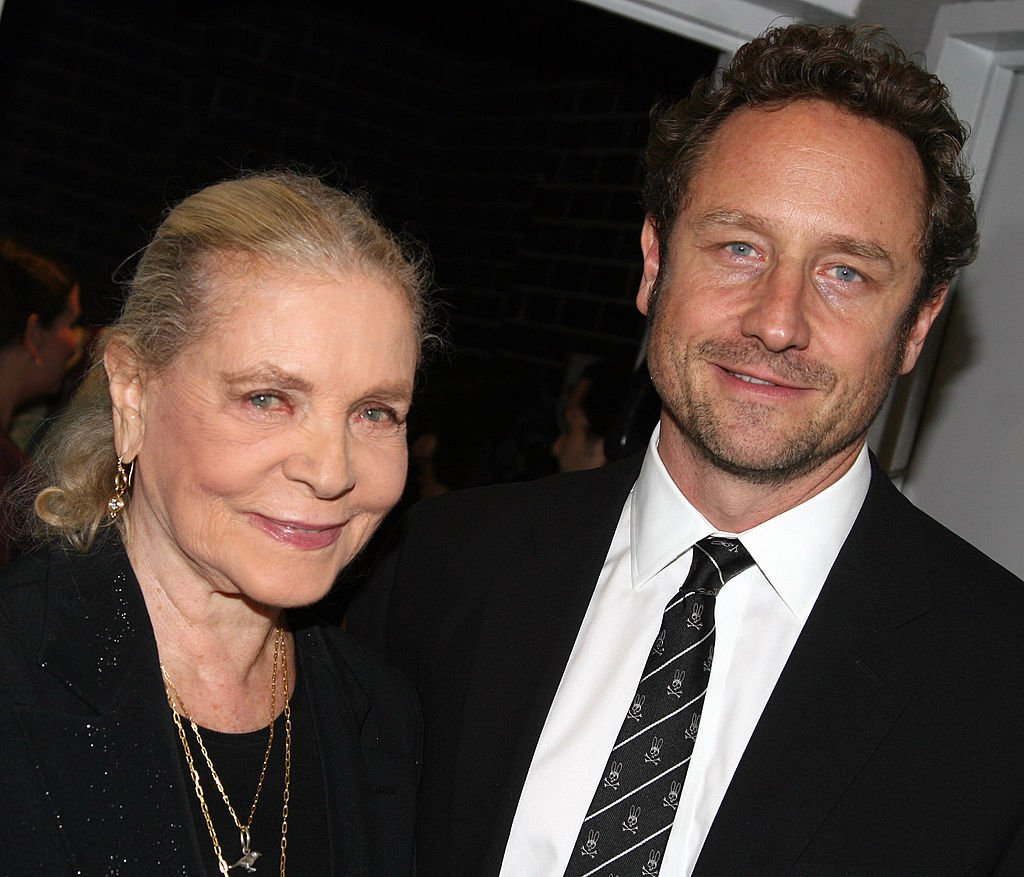 """Lauren Bacall with son Sam Robards pose at The Opening Night Party for The Roundabout Theater Company's """"The Overwhelming"""" at The Laura Pels Theater with an Afterparty at The Millinium Hotel Ballroom on October 23, 2007 in New York. 