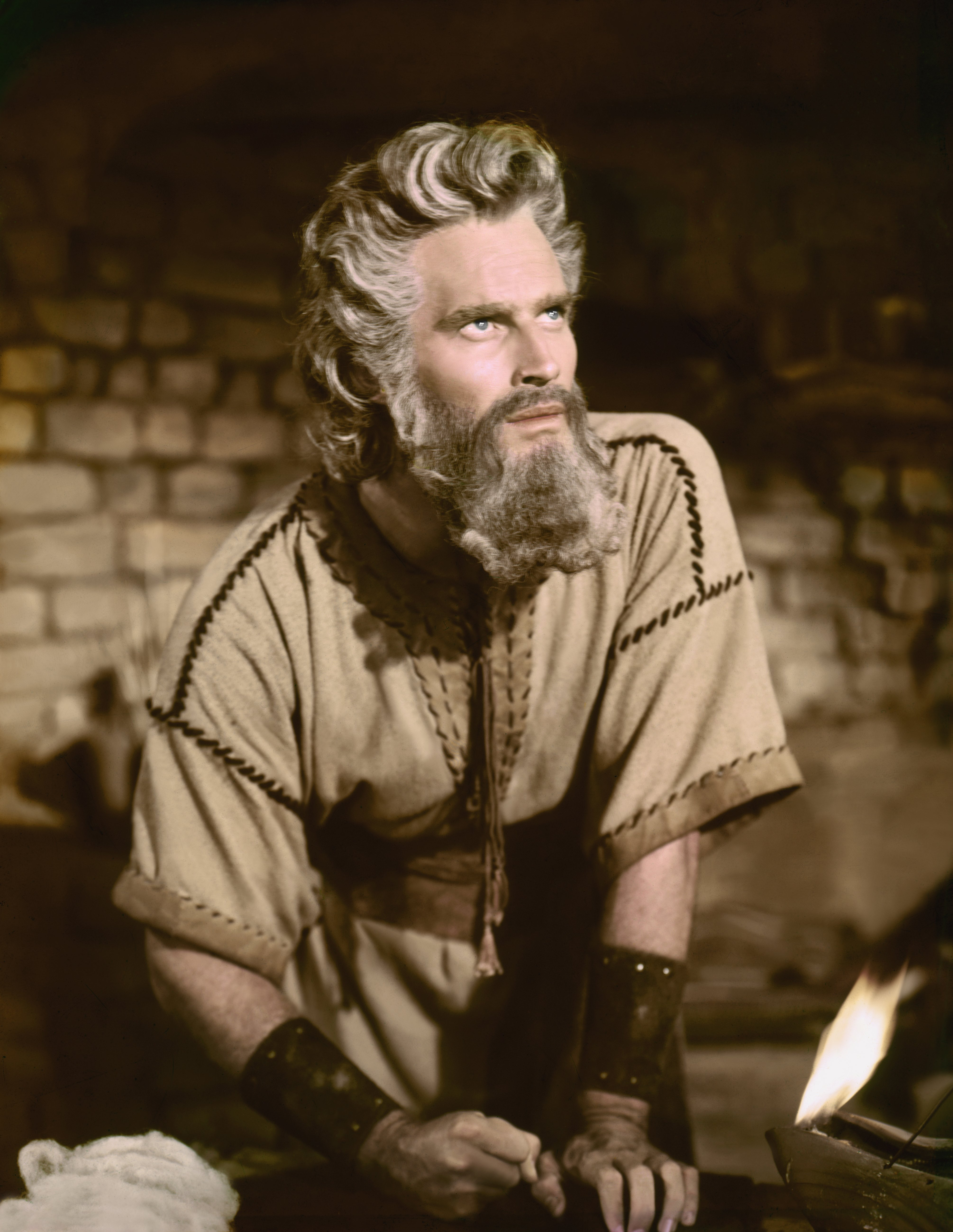 "Charlton Heston on the set of ""The Ten Commandments,"" directed by Cecil B. DeMille. 