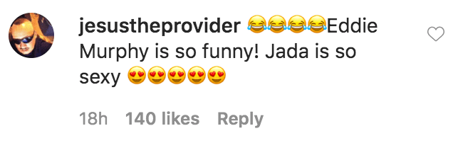 """A fan commented on Jada Pinkett Smith's video of her and Eddie Murphy in a scene from """"The Nutty Professor"""" 