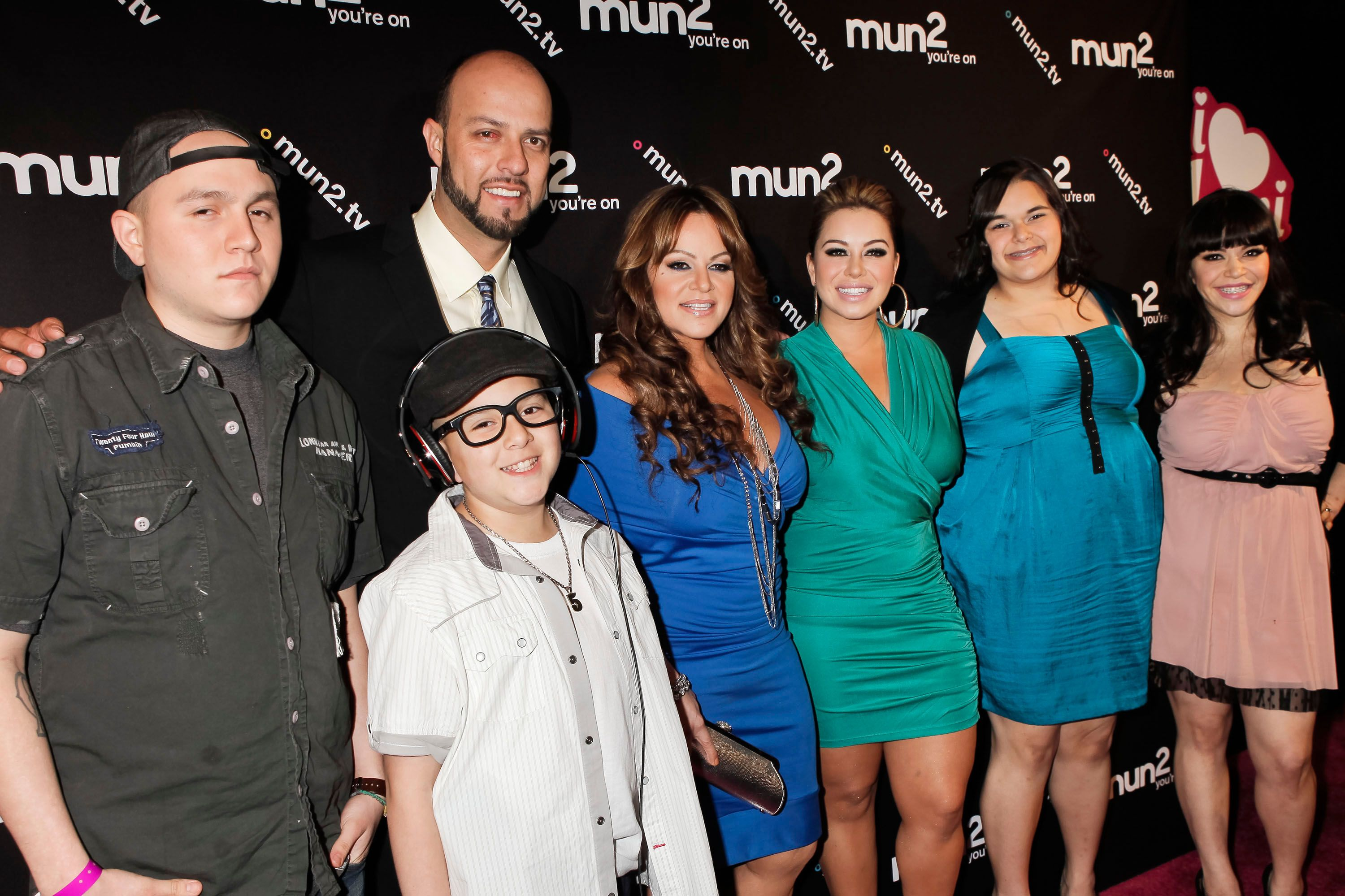 Jenni Rivera and Esteban Loaiza, with her children Johnny Lopez, Janney 'Chiquis' Marin, Jenicka Lopez and Jacqui Marin at the premiere of 'I Love Jenni' Season 2 in 2012 in Hollywood, California | Source: Getty Images