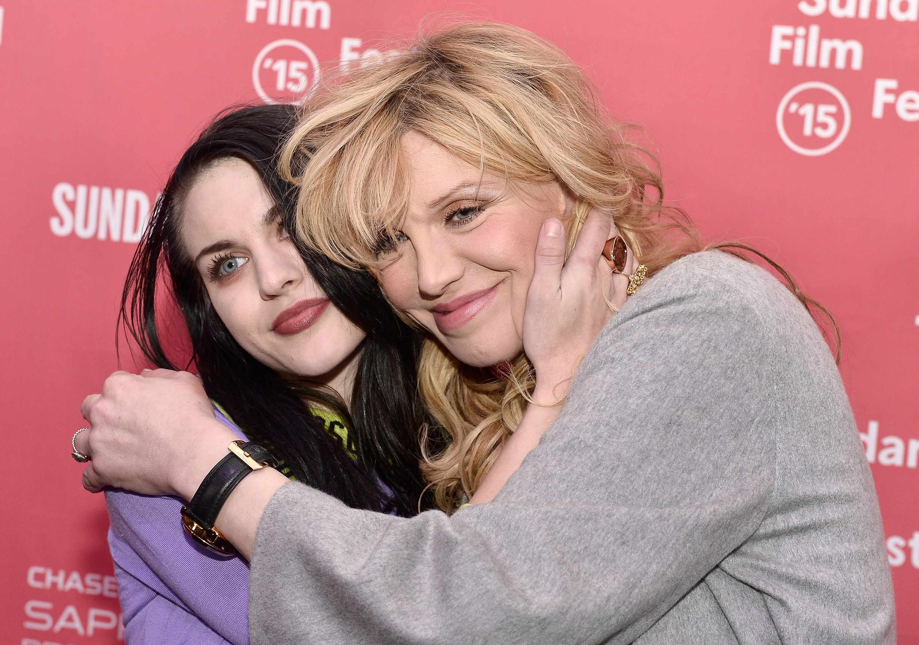 "Frances Bean Cobain and Courtney Love at the ""Kurt Cobain: Montage Of Heck"" premiere at the 2015 Sundance Film Festival 