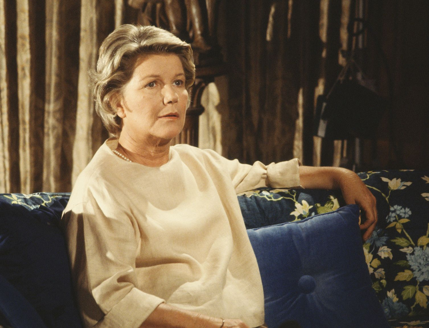 """A portrait of Barbara Bel Geddes sitting on a sofa on the American television series """"Dallas"""" on January 01, 1979 