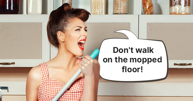 The women warned her husband about walking on the wet kitchen floor | Source: Shutterstock