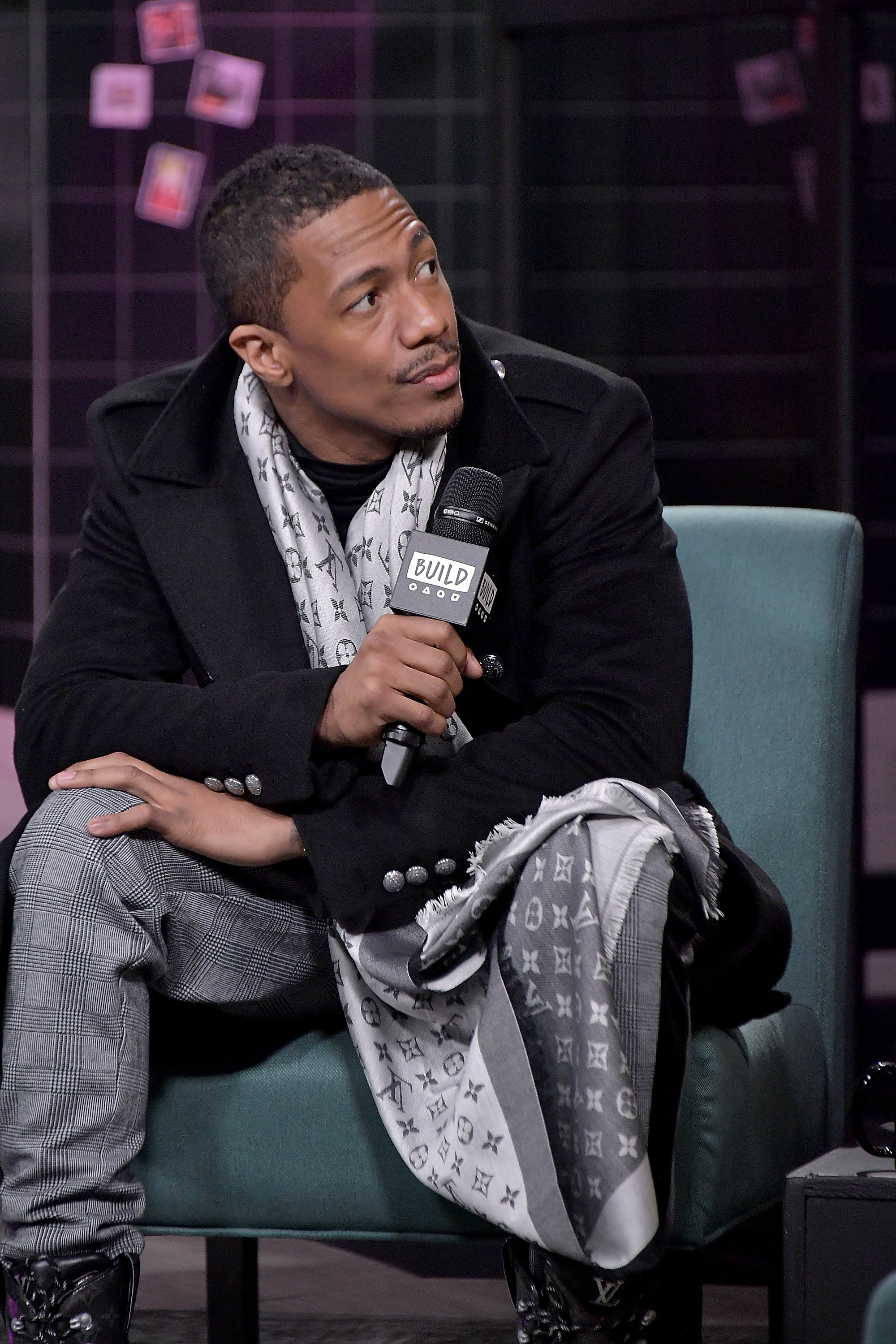 """Nick Cannon visits Build and discusses his reality show, """"The Masked Singer"""" in December 2018 in New York City. 