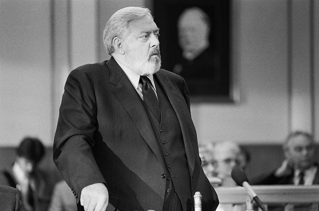 """Raymond Burr as 'Perry Mason' during an episode of the TV series, """"Perry Mason"""" that aired on October 01, 1987 