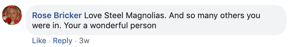 Fan's comment on Sally Field's post.   Source: Facebook/SallyField