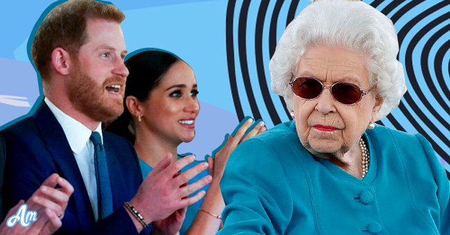 The Duke and Duchess of Sussex, Harry and Meghan and an inset of the Queen | Source: Getty Images / Shetterstock
