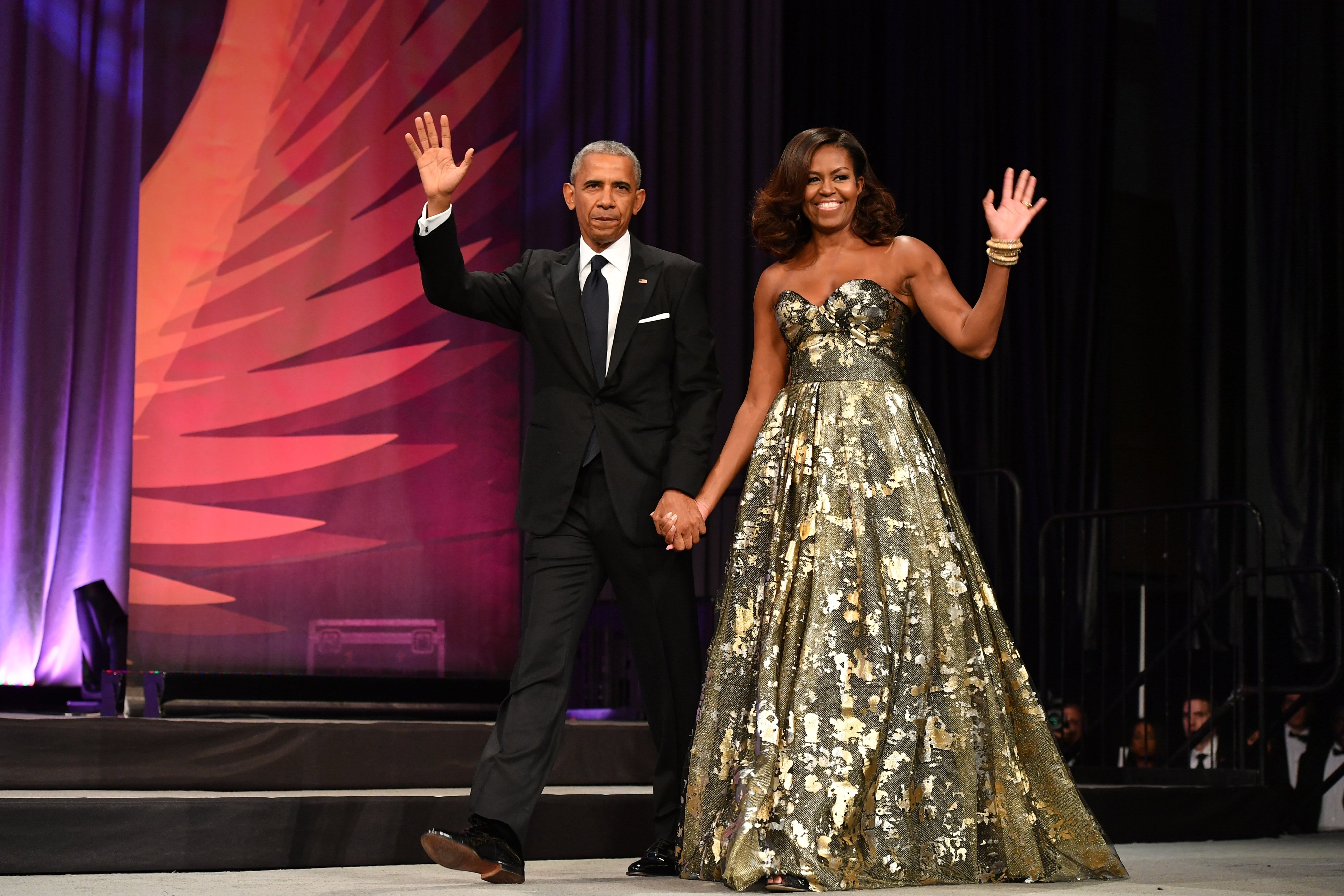 President Barack Obama and Michelle Obama arrive at the Phoenix Awards Dinner at Walter E. Washington Convention Center on September 17, 2016, in Washington, DC.   Source: Getty Images.