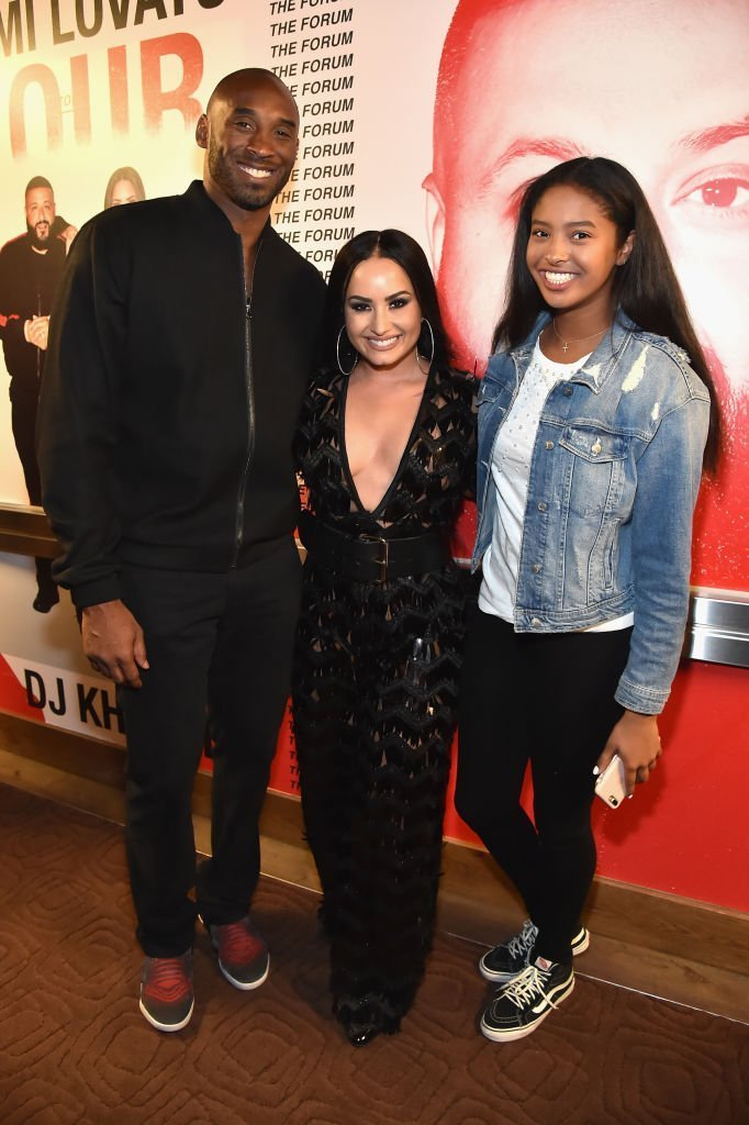 "Kobe Bryant, Demi Lovato, and Natalia Diamante Bryant attend the ""Tell Me You Love Me"" World Tour at The Forum 