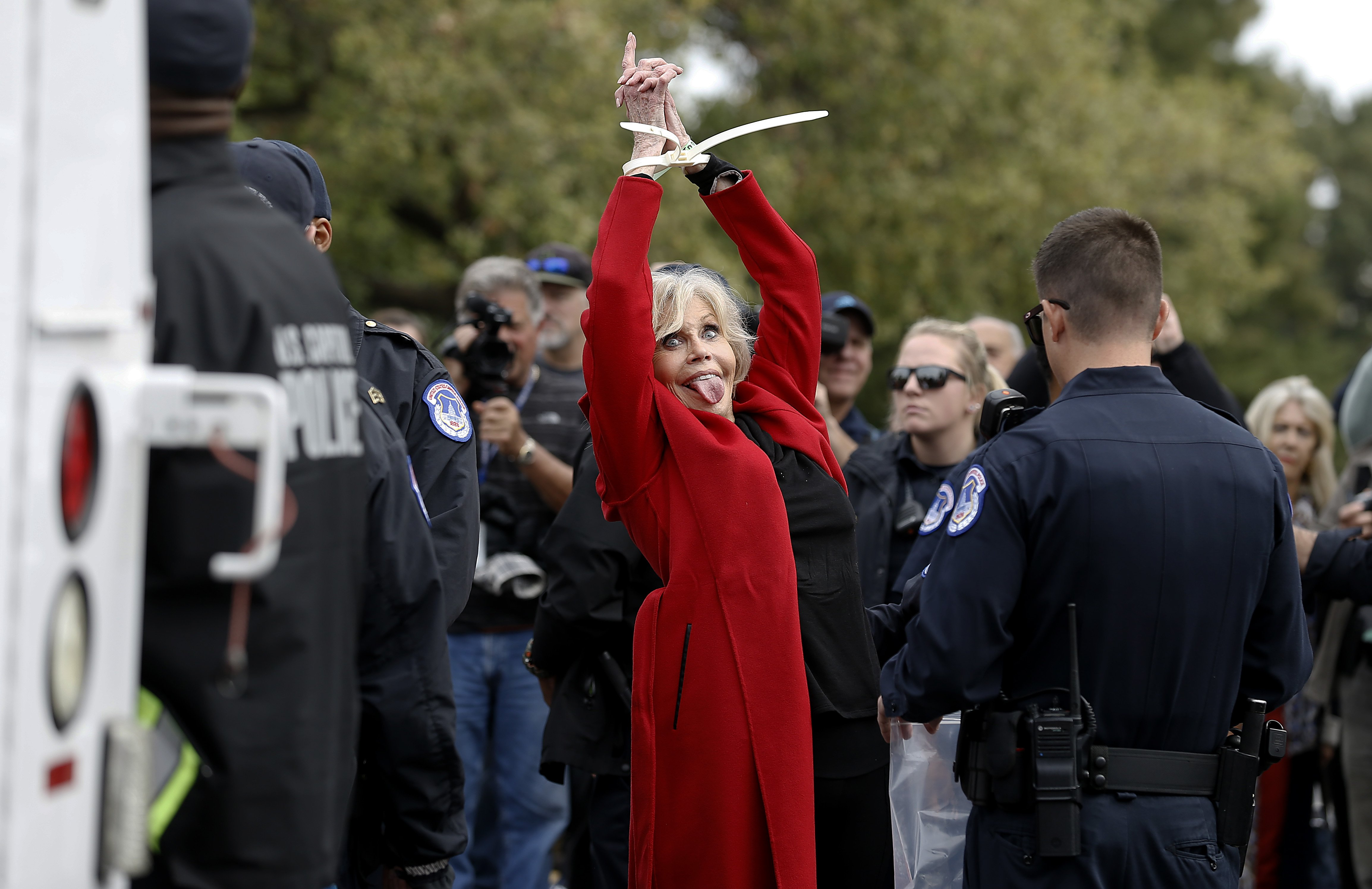 """Jane Fonda is arrested during the """"Fire Drill Friday"""" Climate Change Protest on October 25, 2019 in Washington, DC 