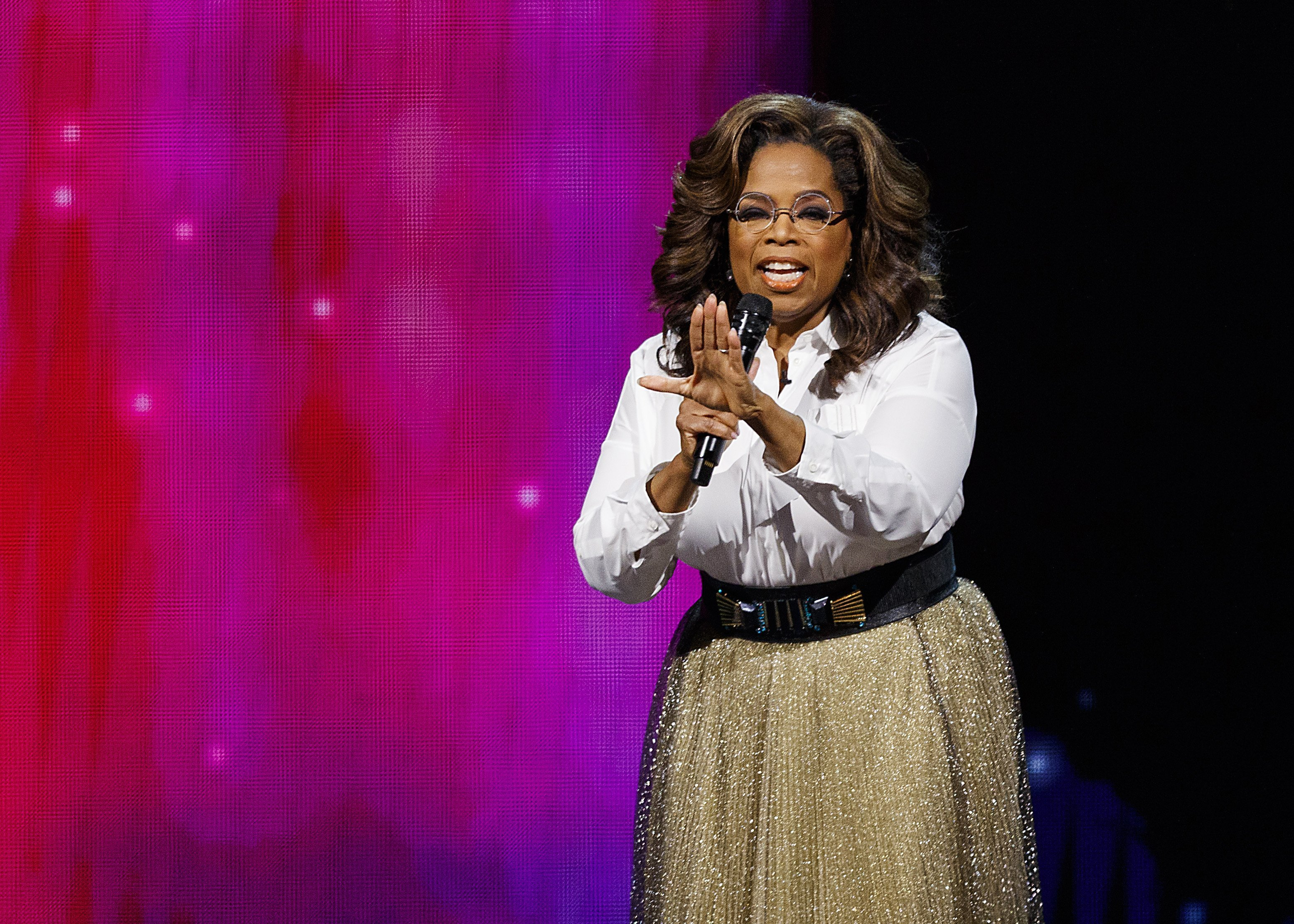Oprah Winfrey speaks on stage at Rogers Arena on June 24, 2019, in Vancouver, Canada. | Source: Getty Images.