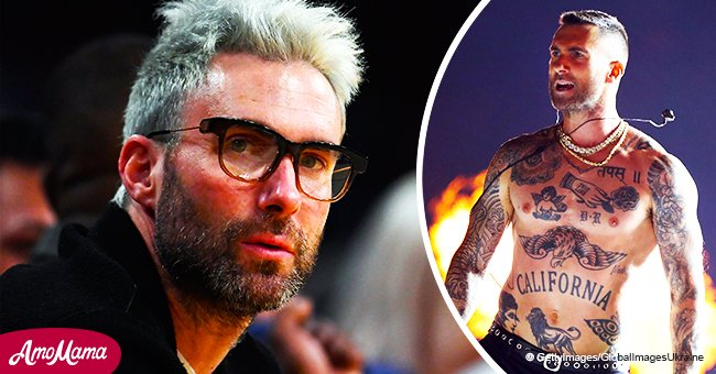 Eagle-eyed fans think Adam Levine's chest tattoo forms a word with his left nipple as the 'O'