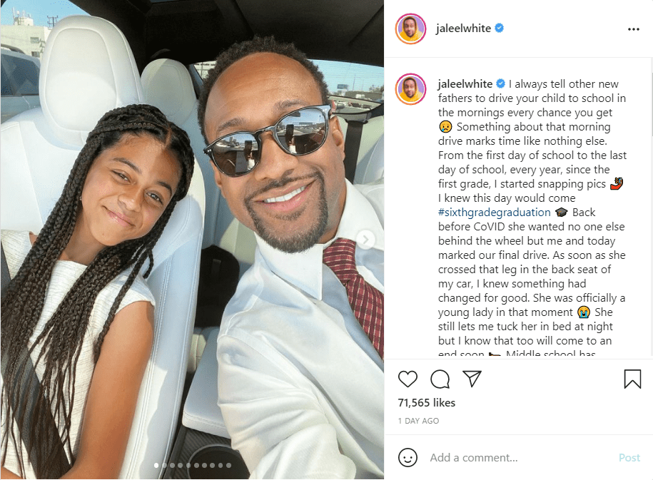 Jaleel White's heartwarming message to his look-alike daughter, Samaya White, along with their car selfie.   Photo: instagram.com/jaleelwhite