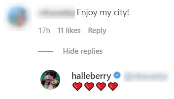 A screenshot of a fan's comment on Halle Berry's post on her instagram page | Photo: instagram.com/halleberry/