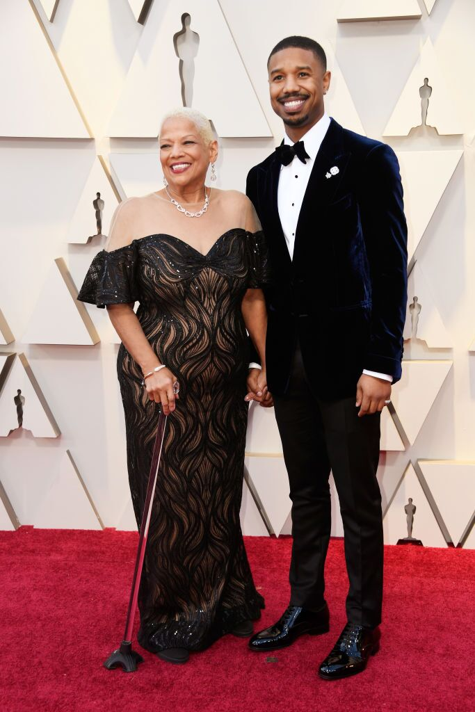 Michael B. Jordan and his mom Donna Jordan at the Oscars   Source: Getty Images/GlobalImagesUkraine