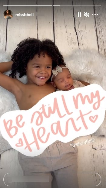Nick Cannon's son, Golden, poses shirtless with his baby sister Powerful in a cozy picture. | Photo: Instagram/Missbbell