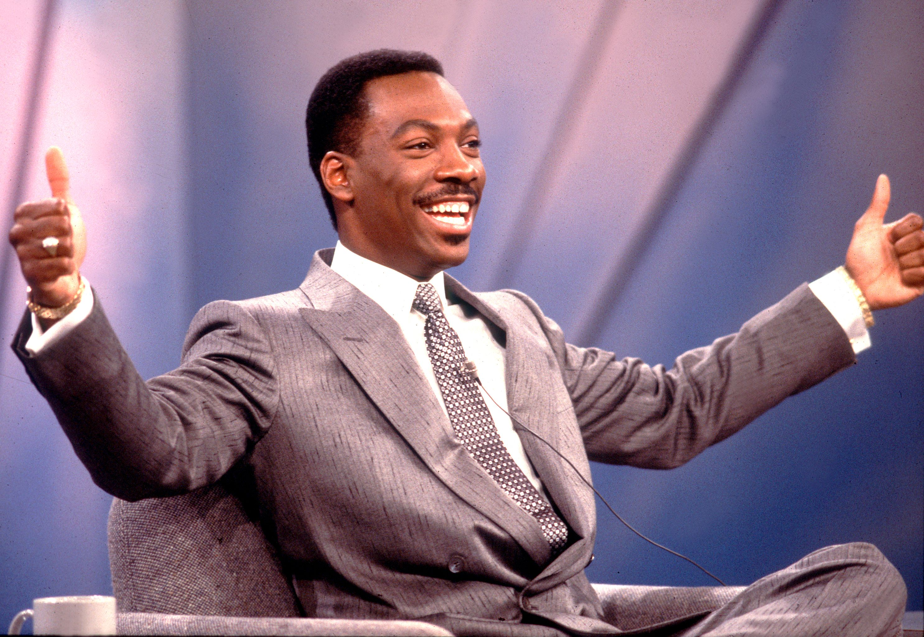 "Actor and comedian Eddie Murphy during his TV guesting at the ""Oprah Winfrey Show"" in Chicago in 1987. 