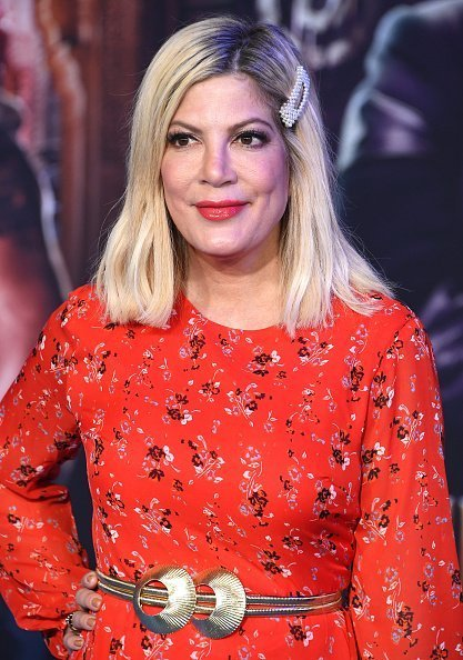 "Tori Spelling arrives at the Premiere Of Sony Pictures' ""Jumanji: The Next Level"" on December 09, 2019 