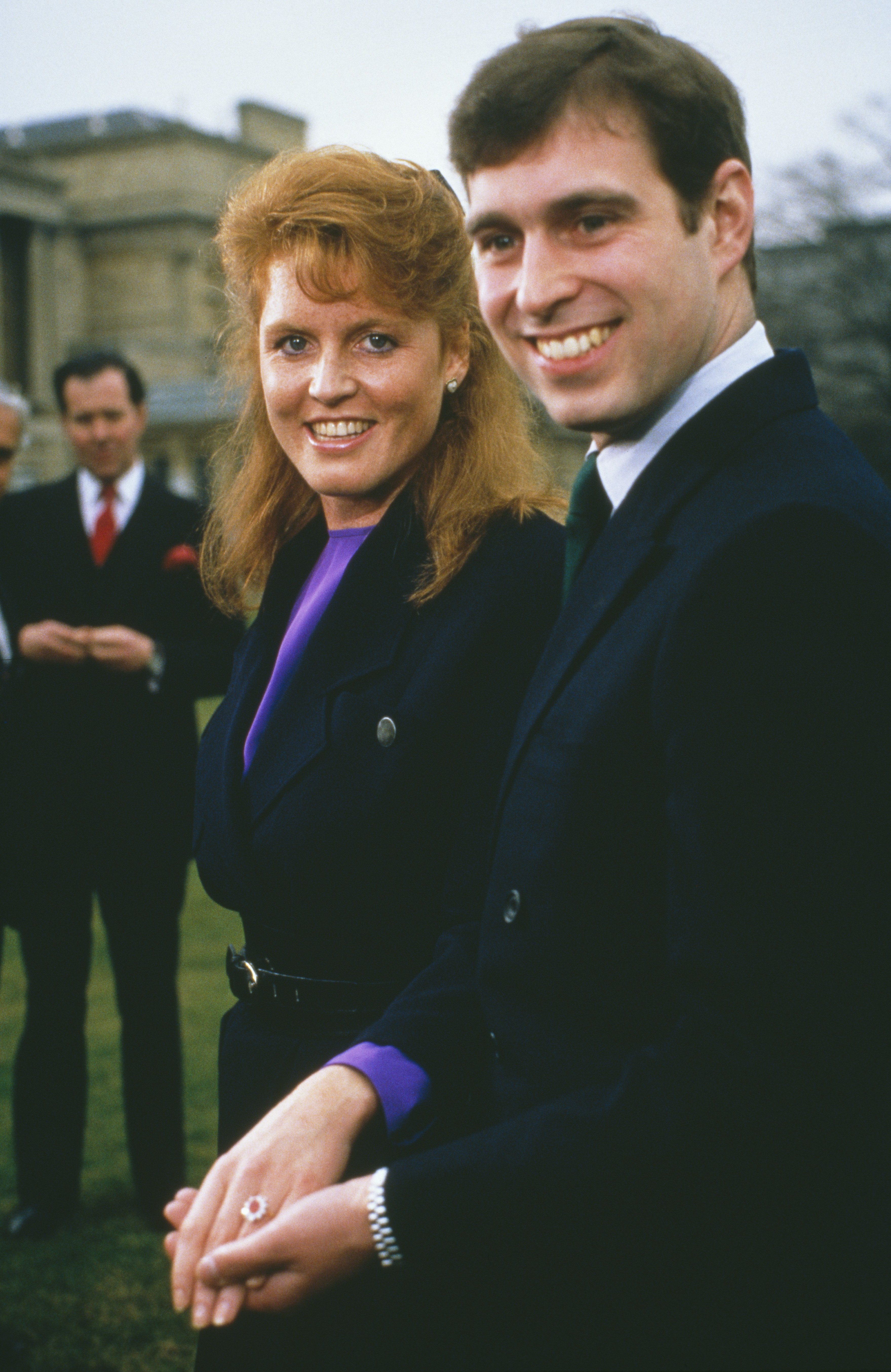 Prince Andrew with Sarah Ferguson at Buckingham Palace after the announcement of their engagement in London on March 17, 1986   Photo: Getty Images