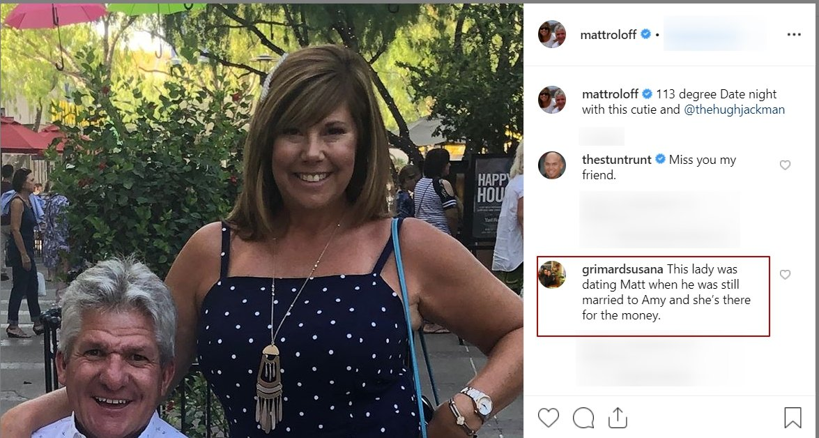 A fan's comment on a photo of Matt Roloff out with his girlfriend Caryn Chandler | Photo: Instagram/Matt Roloff