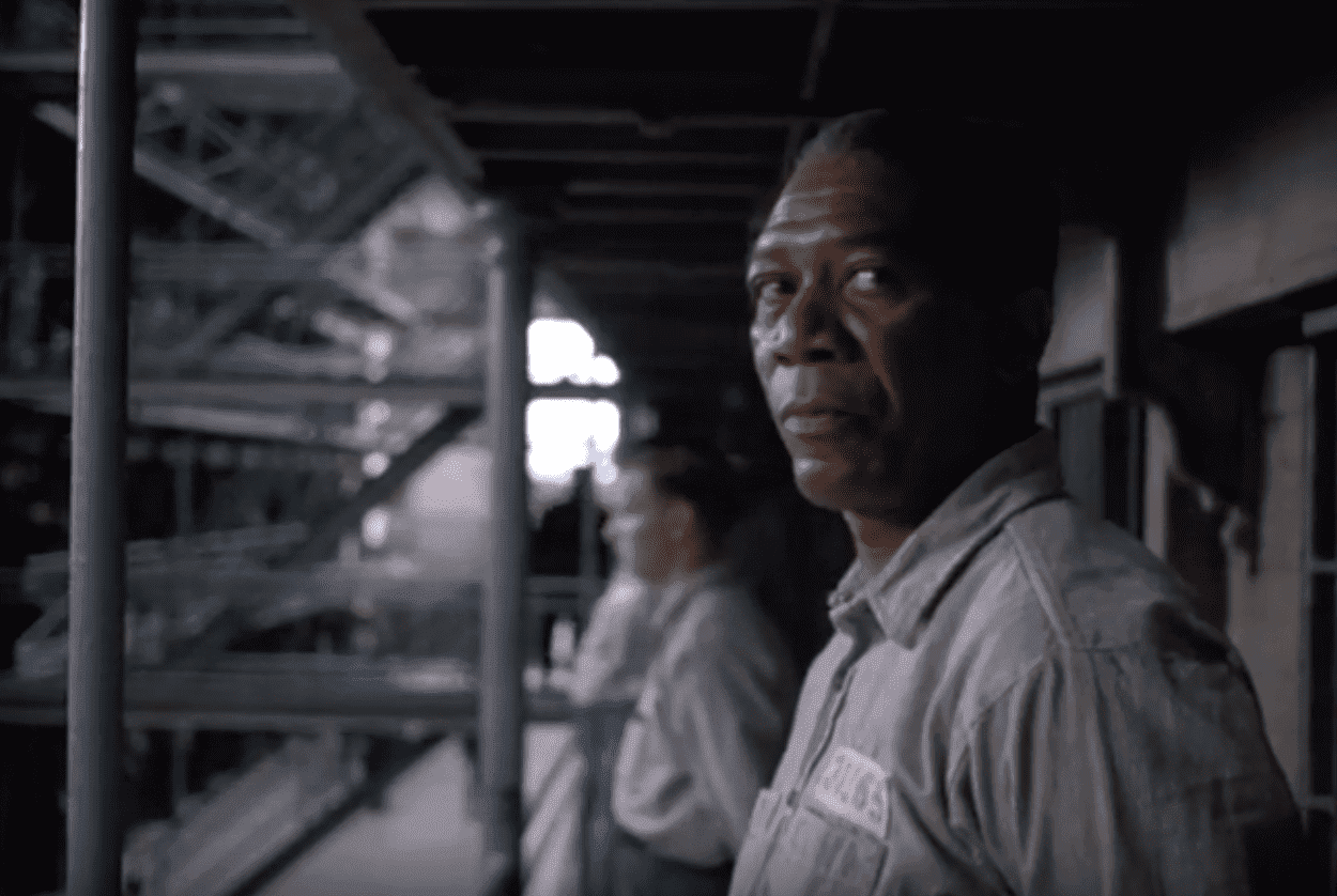 "Morgan Freeman in the movie ""The Shawshank Redemption."" 