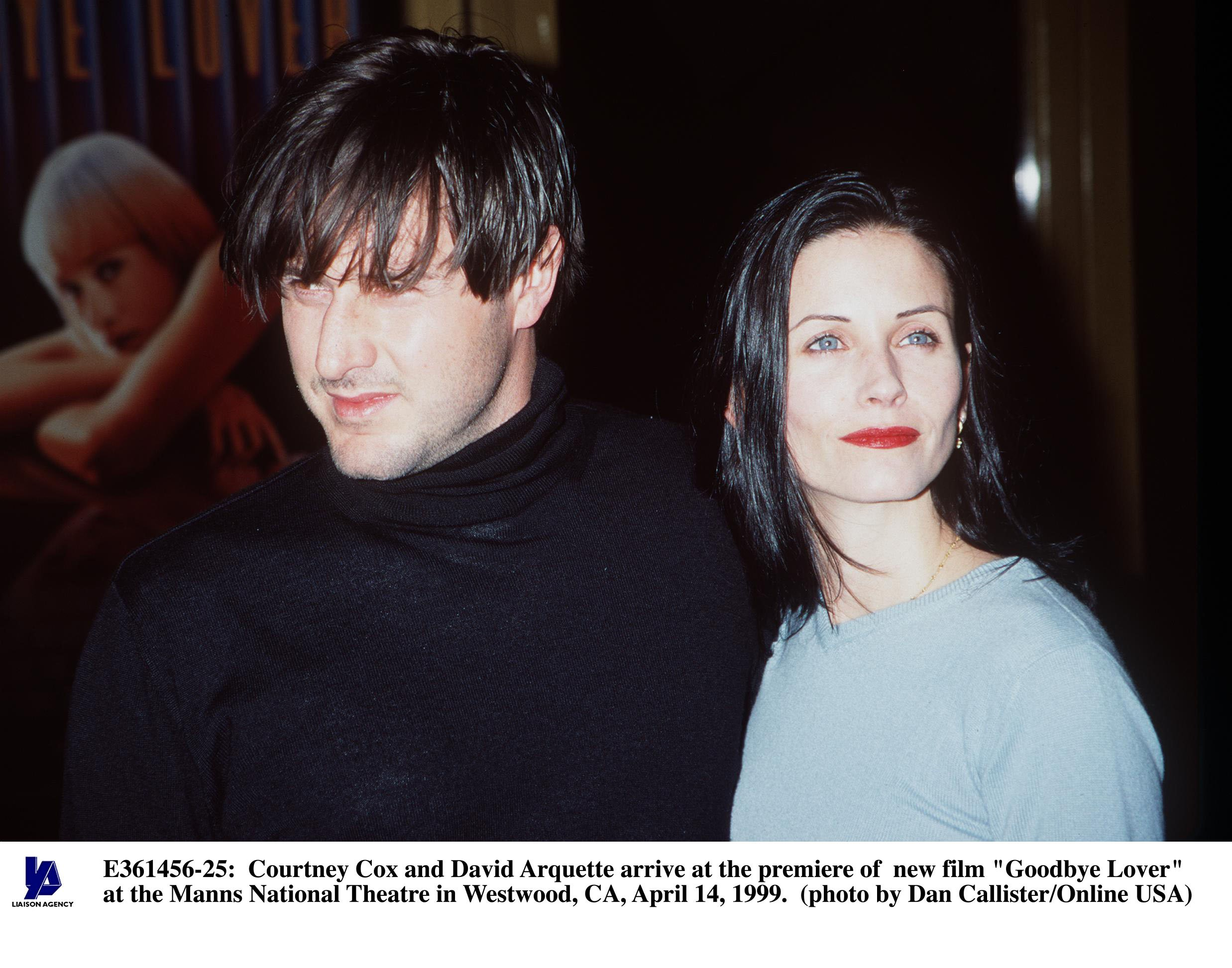 """Courteney Cox and DAvid Arquette at the premier of """"Goodbye Lover"""" in Westwood, California on April 14, 1999 