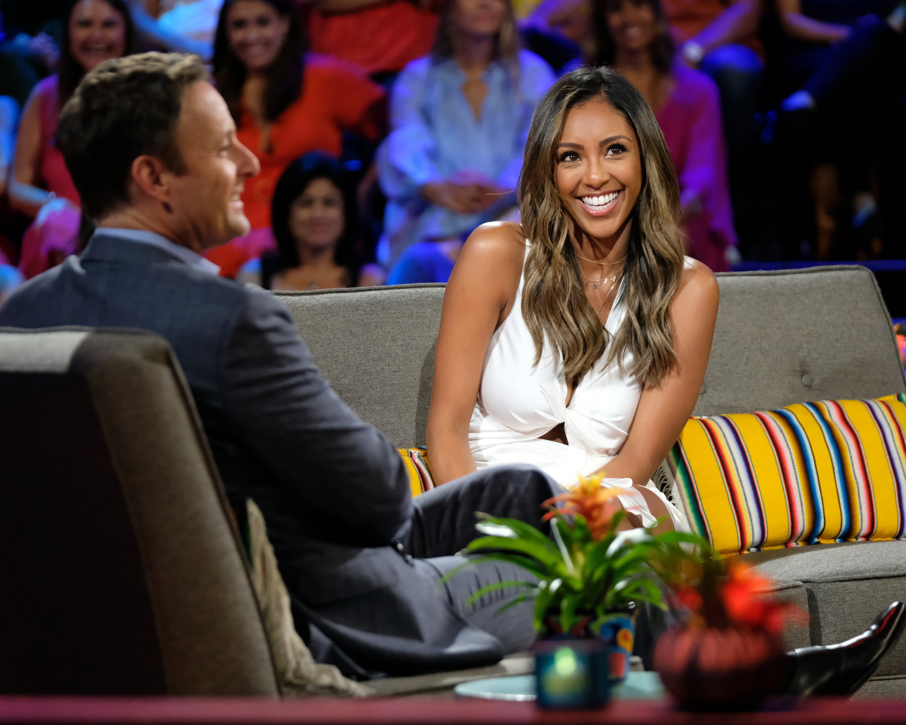 "Chris Harrison and Tayshia Adams during season 6 of ""Bachelor in Paradise."" 