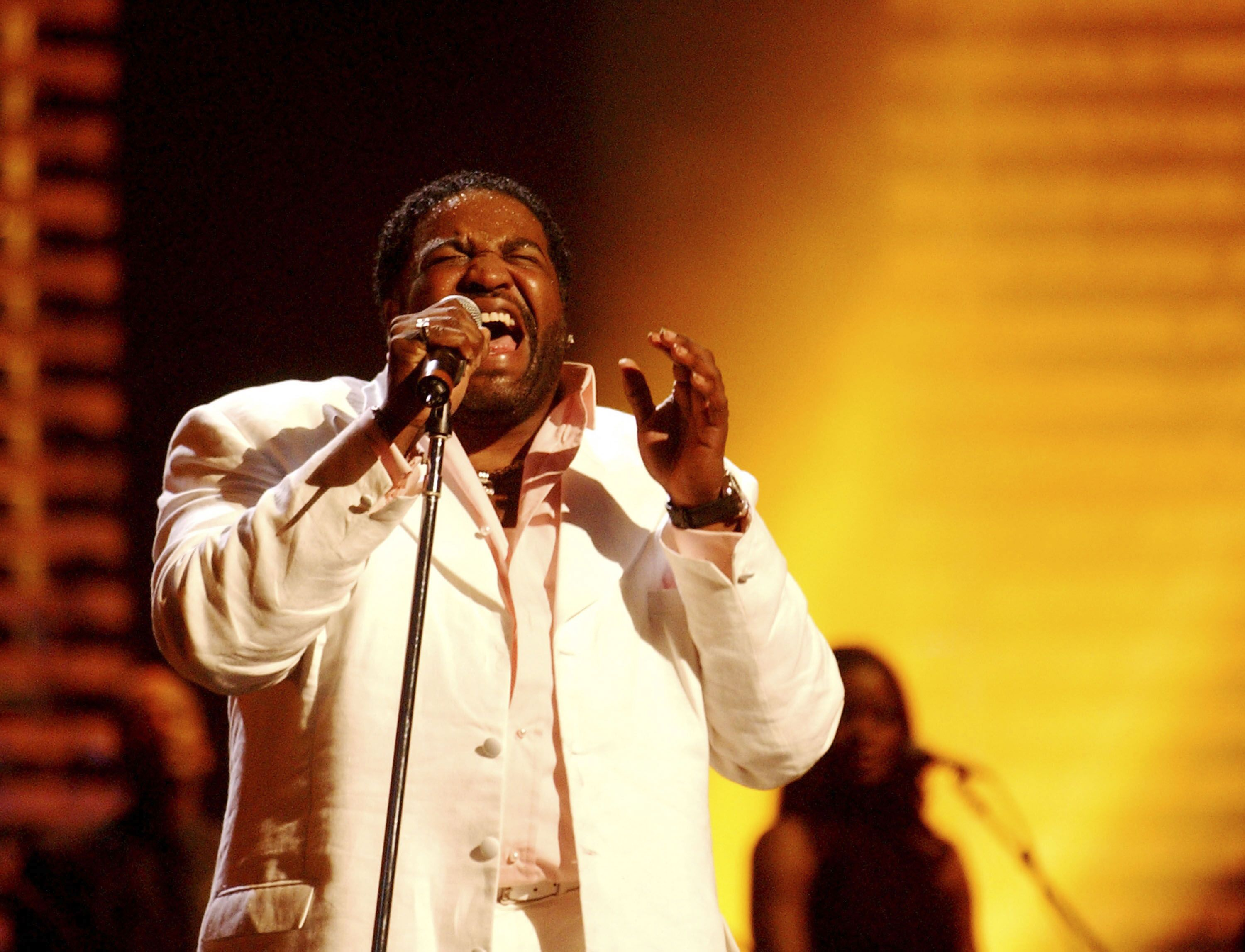 Gerald Levert onstage at the 2003 Essence Festival on July 5, 2003 in New Orleans, Louisiana.   Photo: Getty Images