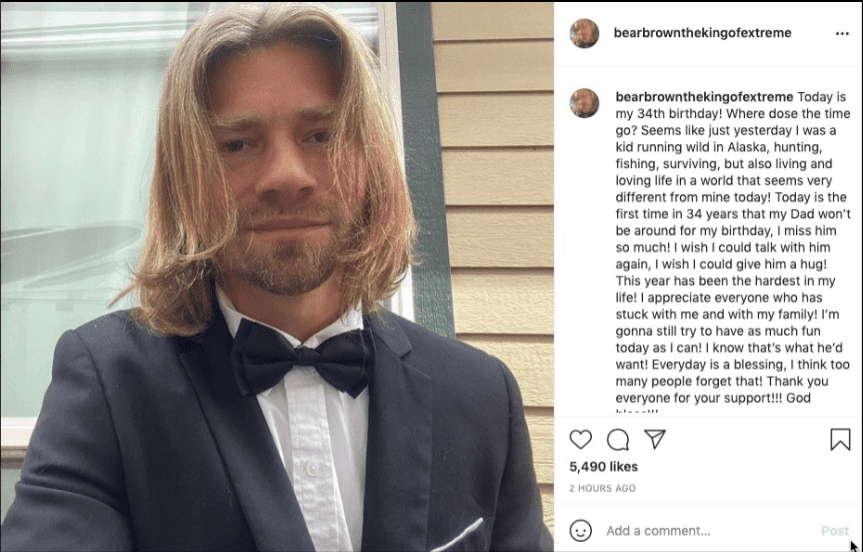 Bear Brown posted his picture wearing a tuxedo on Instagram on his 34th birthday with and emotional note in the caption | Photo: Instagram/bearbrownthekingofextreme