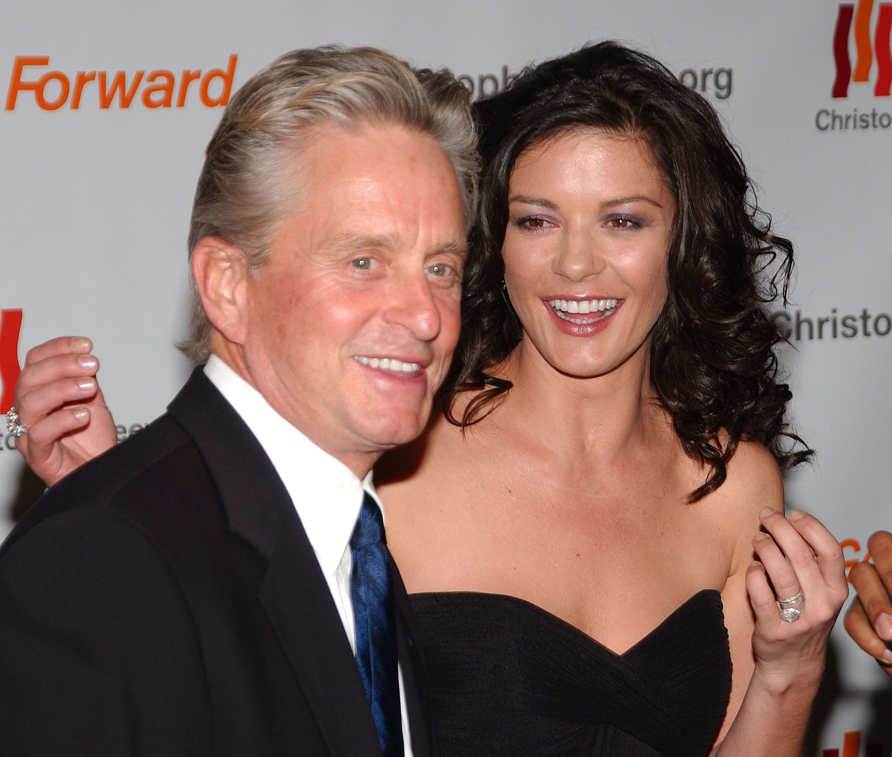 """Michael Douglas and Catherine Zeta-Jones during the Christopher Reeve Foundation's """"A Magical Evening"""" at the Marriott Marquis Hotel November 17, 2005 