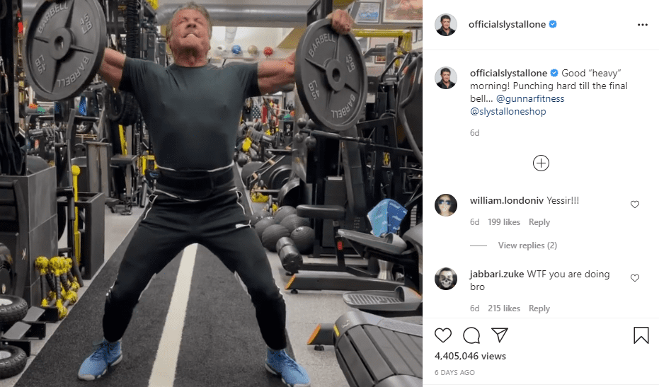 Sylvester Stallone lifting weights above his head. | Photo: Instagram/officialslystallone/