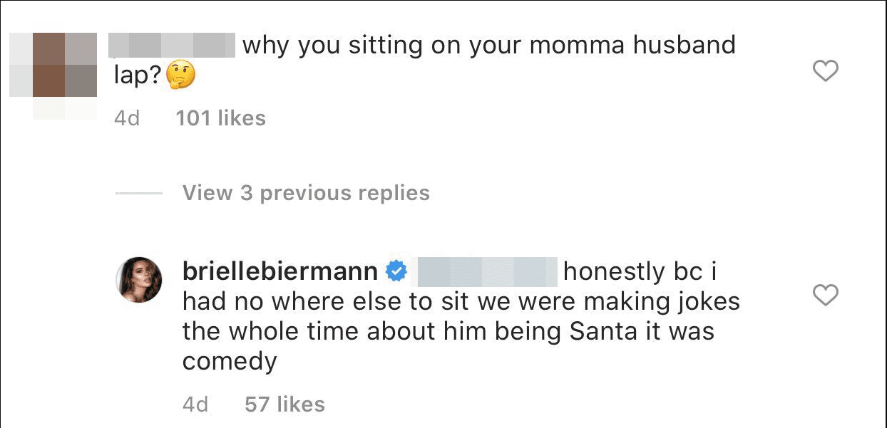 A fan's comment and Brielle's response under a picture on Brielle's Instagram page. | Photo: Instagram/@briellebiermann