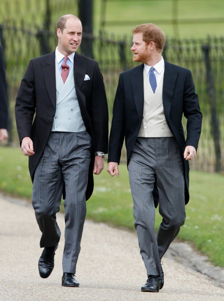 Prince William and Prince Harry pictured at the wedding of Pippa Middleton and James Matthews 2017 in Englefield Green, England. | Photo: Getty Images