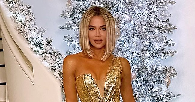 Khloé Kardashian from KUWTK & Her Daughter True Look Glamorous in Matching Golden Dresses for Christmas