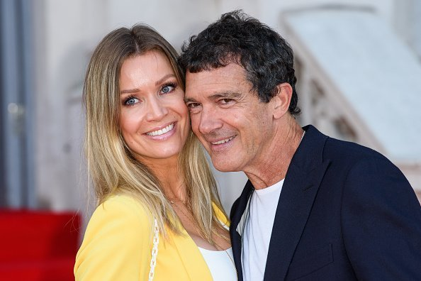 """Nicole Kimpel and Antonio Banderas attend the premiere of """"Pain and Glory"""" in London, England on August 8, 2019 