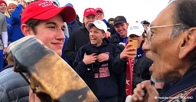 MAGA-hat-wearing students allegedly mock & harass elderly native American veteran, sparking outrage