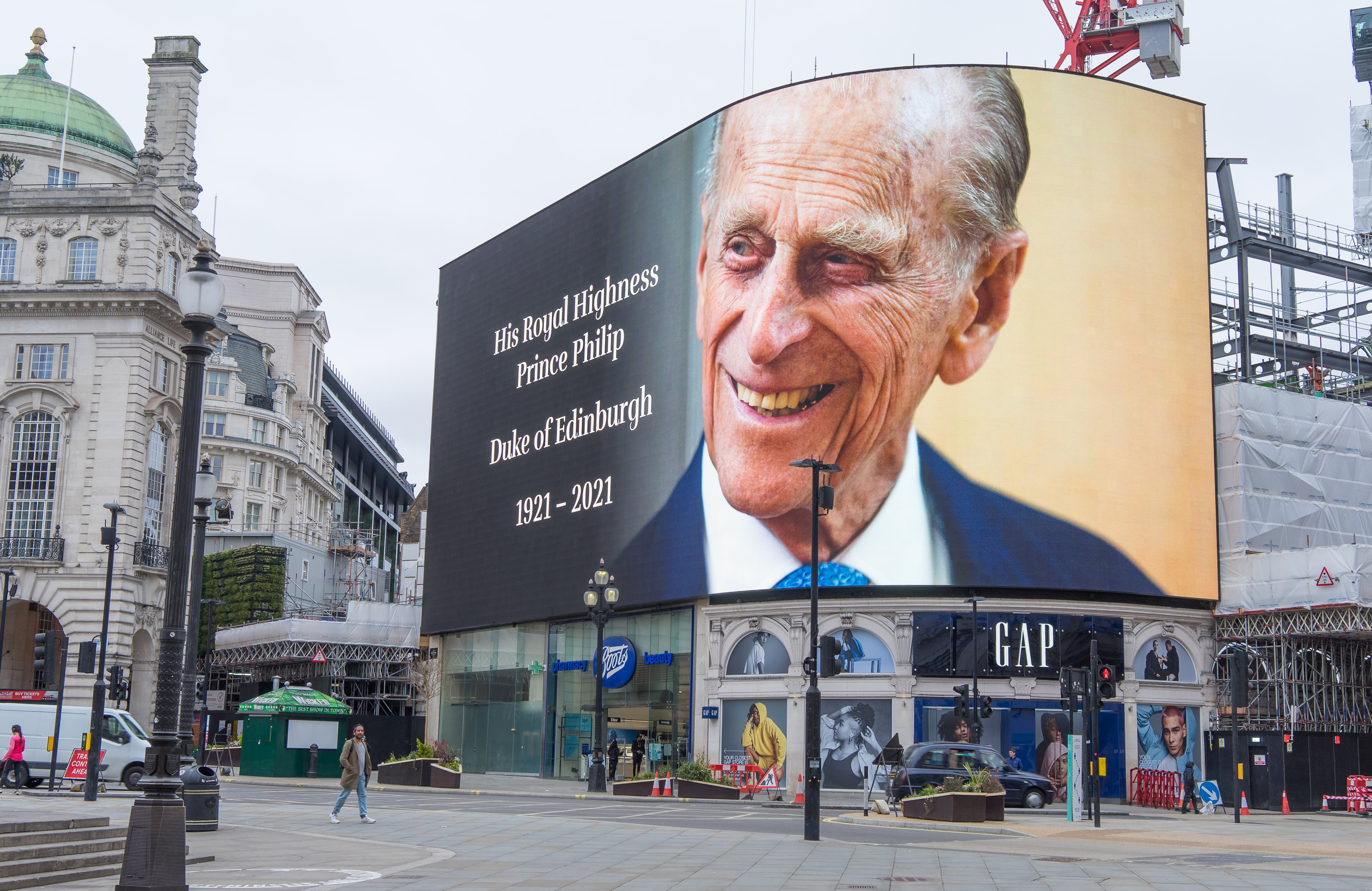 Piccadilly Circus paying respect to Prince Philip following the announcement of his death on April 10, 2021, London | Photo: Shutterstock