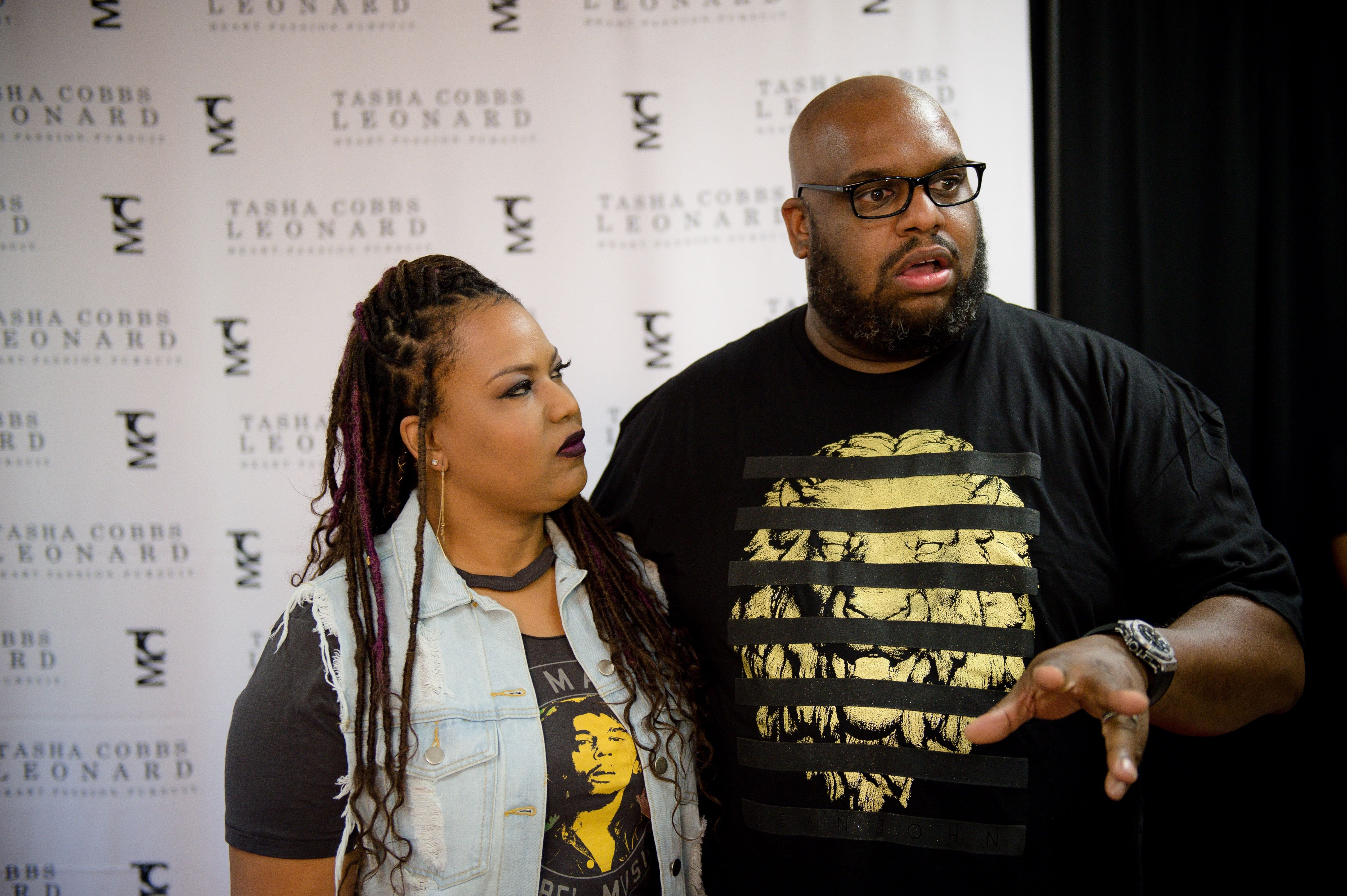 """Aventer Gray and Pastor John Gray during Tasha Cobbs Leonard's """"Heart. Passion. Pursuit."""" album release concert at The dReam Center Church of Atlanta on August 25, 2017 in Atlanta, Georgia.   Source: Getty Images"""