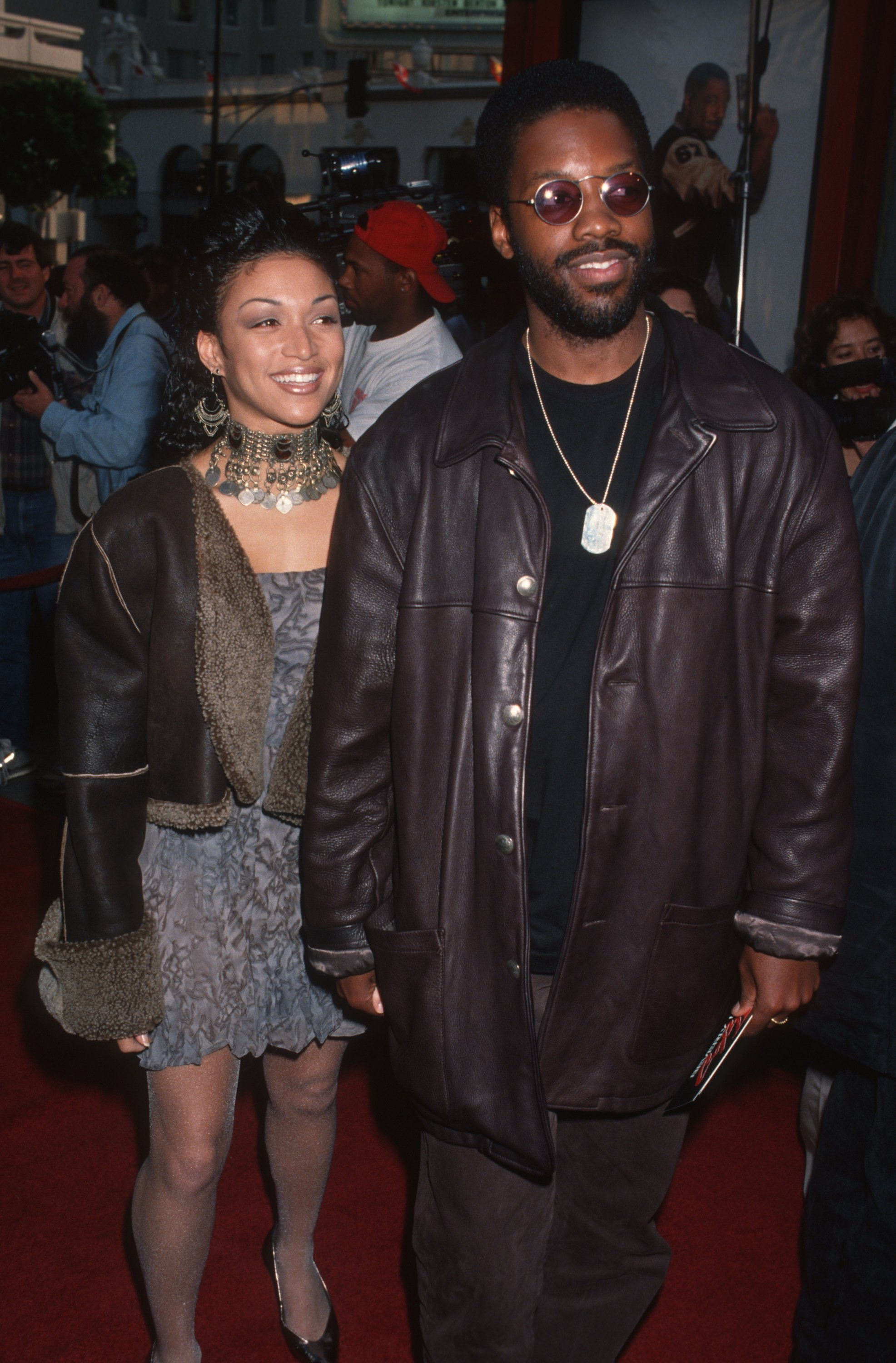 "Kadeem Hardison and singer Chante Moore attend the screening of ""Beverly Hills Cop 3"" on May 22, 1994, in California. 