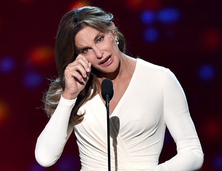 Caitlyn Jenner getting emotional during her award acceptance speech at the 2015 ESPYS Awards on July 15, 2015, in Los Angeles, California. | Source: Getty Images.