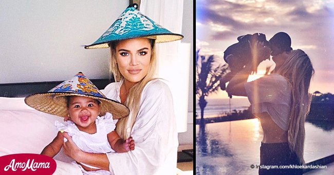 Khloé Kardashian reveals underboob from a tiny crop-top in photo with daughter