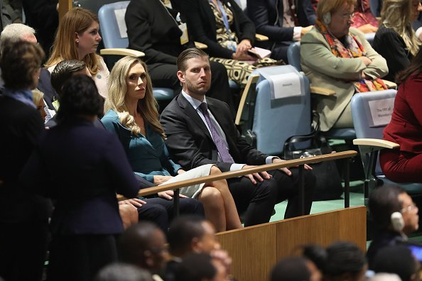 Eric and Lara Trump listen as U.S. President Donald Trump speaks at the United Nations General Assembly on September 25, 2018, in New York City.| Photo:GettyImages