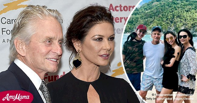 Michael Douglas' teen kids look all grown up playing with monkeys on a beach at Christmas
